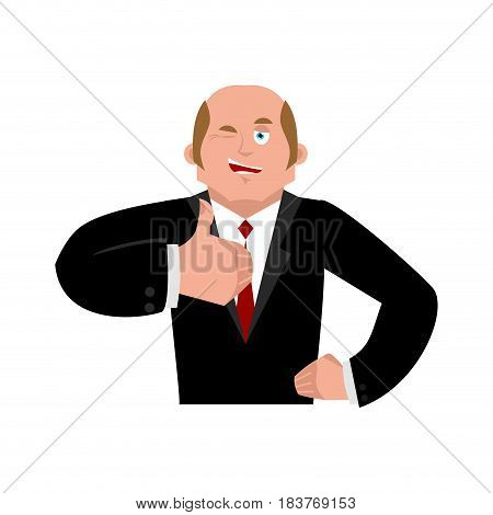 Businessman Winks And Thumb Up Shows Well. Sign Is In Order. Merry Boss. Hand Shows Well.