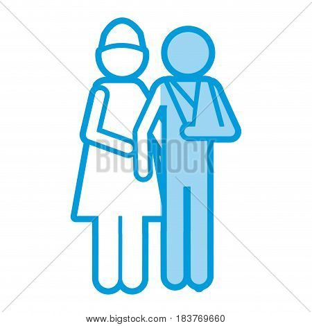 blue shading silhouette pictogram nurse with bandaged arm patient vector illustration