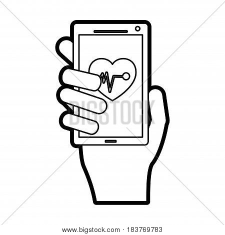 mobile heart rate monitor icon image vector illustration design  black line
