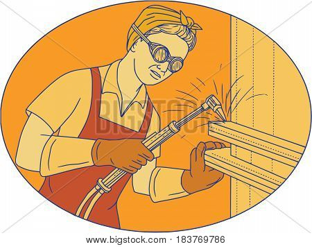 Mono line style illustration of a female welder welding using acetylene welding torch viewed from front set inside oval shape.