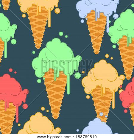 Ice Cream In Waffle Cone Seamless Pattern. Cold Dessert Texture. Strawberry, Pistachio And Banana Ta