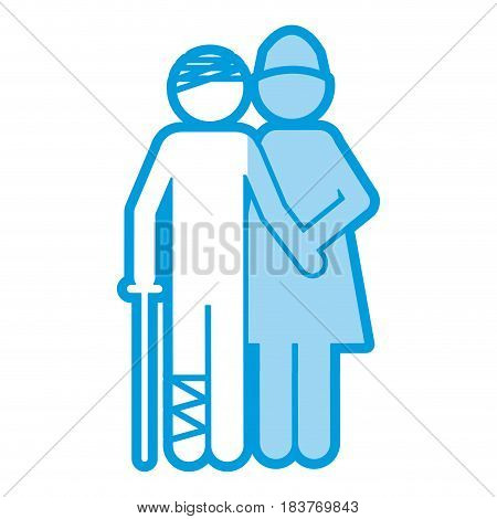 blue shading silhouette pictogram nurse with bandaged patient vector illustration