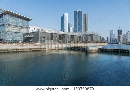 River And Modern Buildings Against Skyreflection of cityscape in rivershot in ShanghaiChina.