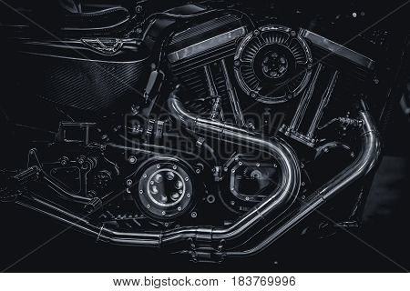 Motorcycle Engine Engine Exhaust Pipes Art Photography In Black And White Vintage Tone