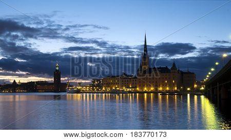 Stockholm city at dusk at spring