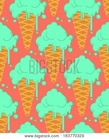 Pistachio Ice Cream In Waffle Cone Seamless Pattern. Cold Dessert Texture.