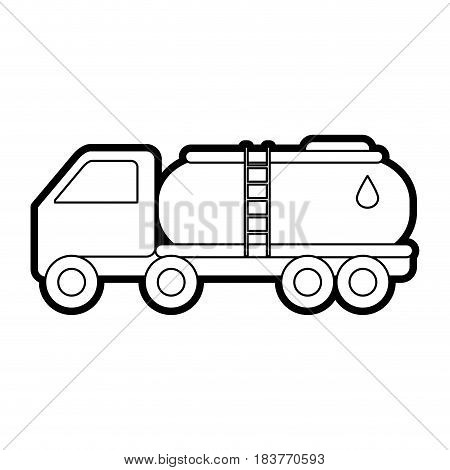 cistern truck oil industry related icon image vector illustration design  black line
