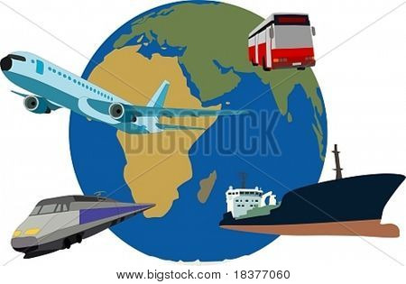 globo de la tierra con recursos de tráfico