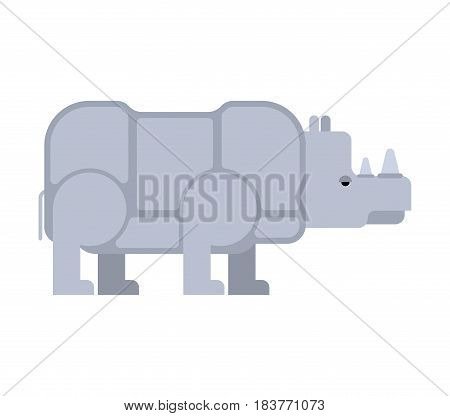 Rhinoceros Isolated. Africa Wild Beast. Beast With Horn