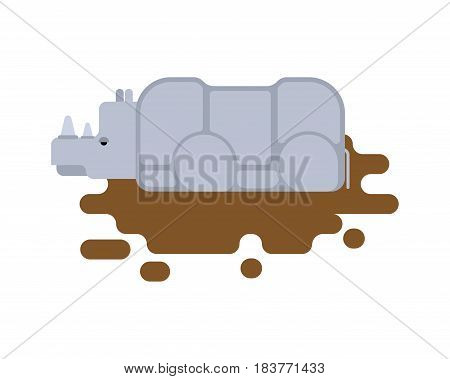 Rhinoceros In Puddle. Africa Wild Beast. Animal With Horn