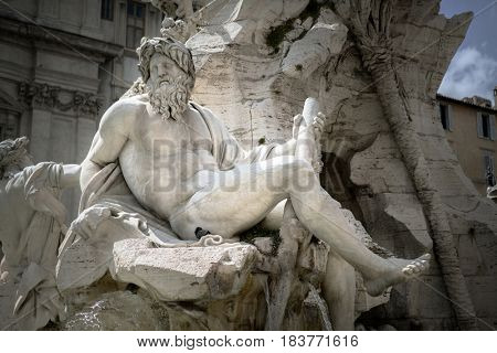 Statue of Zeus in Bernini's fountain of Four Rivers in Piazza Navona, Rome