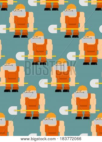 Worker With Shovel Seamless Pattern. Road  Worker In Helmet And Overalls
