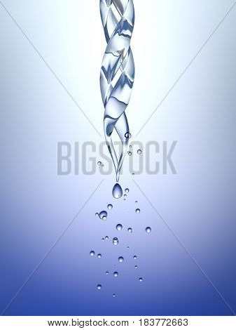 science laboratory pipette with a drop of chemical. Blue background. 3d rendering