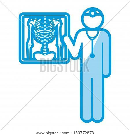 blue shading silhouette pictogram doctor and radiography vector illustration