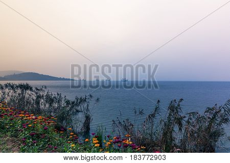 tranquil scene of sea and sky in Qingdao,China.