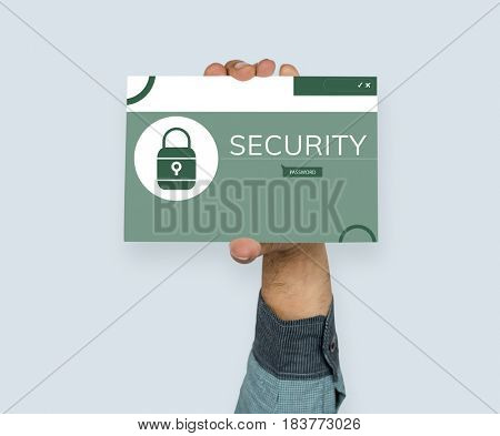 Hand holding banner with illustration of computer security system