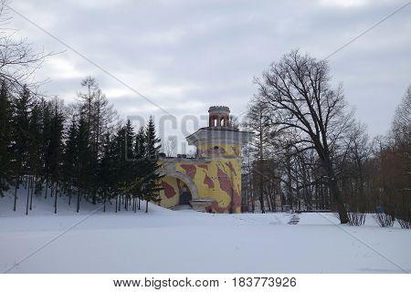 The Ruin Tower in Catherine Park in Tsarskoe Selo
