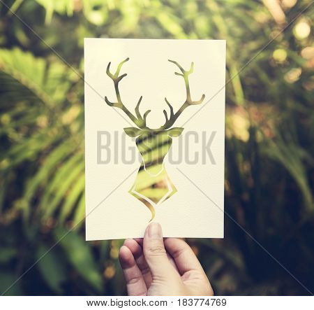 Hand Hold Deer with Antlers Paper Carving with Nature