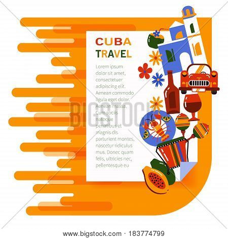 Commercial illustration Cuba Havana. The tourism banner. Flat icons of Cuban culture.