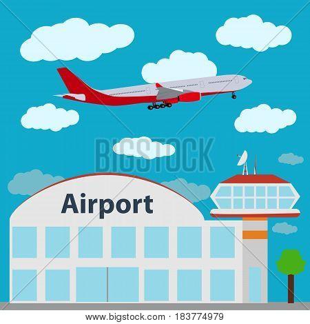 Airport icon, vector illustration passenger liner sky