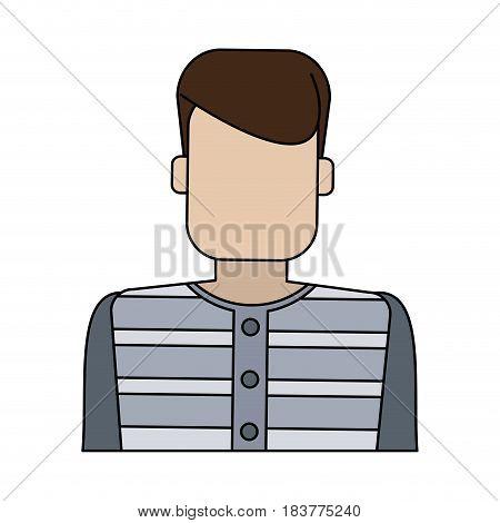 color graphic faceless man prisoner with uniform vector illustration
