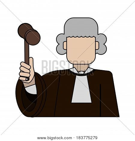 color graphic faceless man judge with a hammer vector illustration