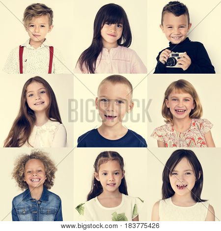 People Set of Diversity Cheerful Kids Studio Collage