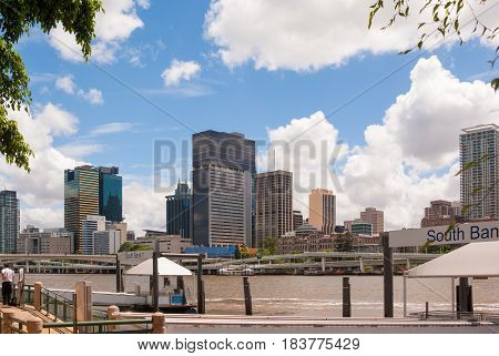 Inner city Brisbane Australia with Brisbane river, view from South Bank gardens