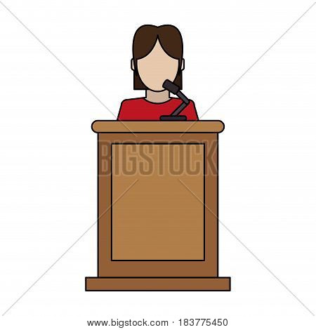 color graphic faceless person in law courts with microphone vector illustration