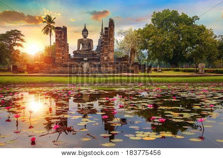 Sukhothai, Thailand - January 18 2017: Wat Mahathat Temple In The Precinct Of Sukhothai Historical P