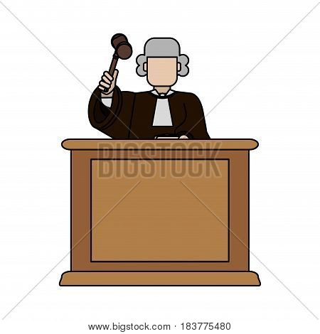 color graphic faceless judge in law courts with hammer vector illustration