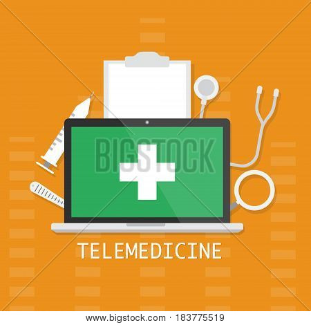Computer laptop with white cross medical sign icon concept of telemedicine and telehealth technology on orange background. Vector illustration cloud internet of things technology trend concept.