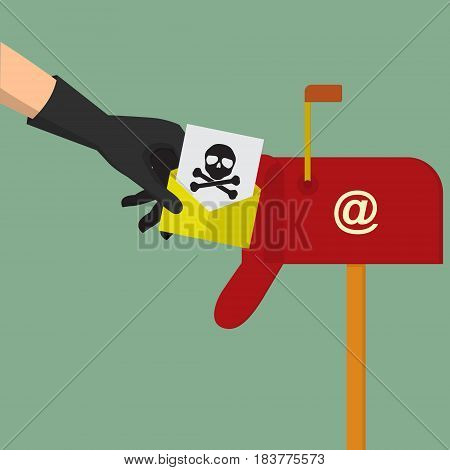Hacker hand send computer virus spam mail to mail box for attack victim user. Vector illustration business concept design.