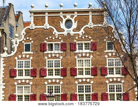Old Canal Building Singel Canal Amsterdam Holland Netherlands.