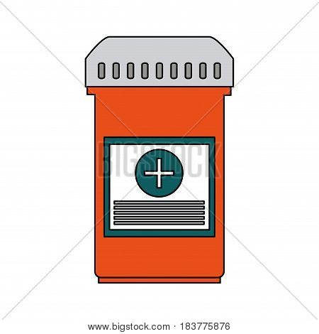 color graphic bottle with tap and pills vector illustration