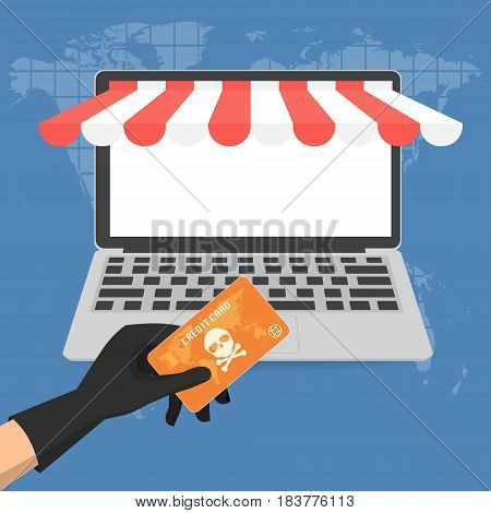 Hacker theft hand holding a credit card fraud with skull and crossbones for online paying shop. Vector illustration business cyber crime concept.