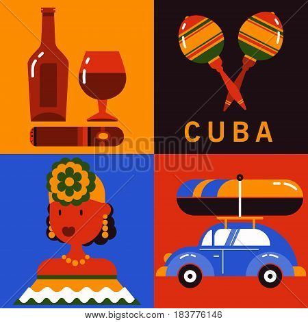 Cuba. Set of icons of Cuban culture in flat style