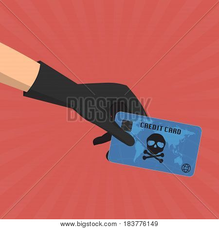 Hacker theft hand holding a credit card fraud with skull and crossbones on sun ray background. Vector illustration business data privacy concept.