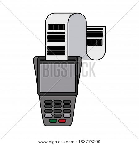 color graphic dataphone with receipter paper vector illustration