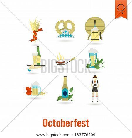Oktoberfest Beer Festival. Flat design style. Vector