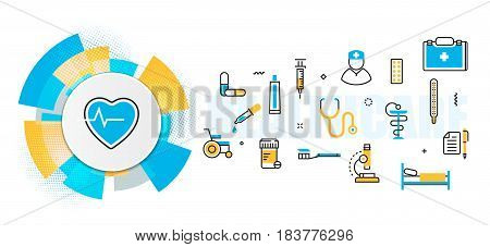 Flat line vector design concept of medicine and healthcare clinic hospital ambulance service banner for website header and landing page in circles digital element linear timeline infographics