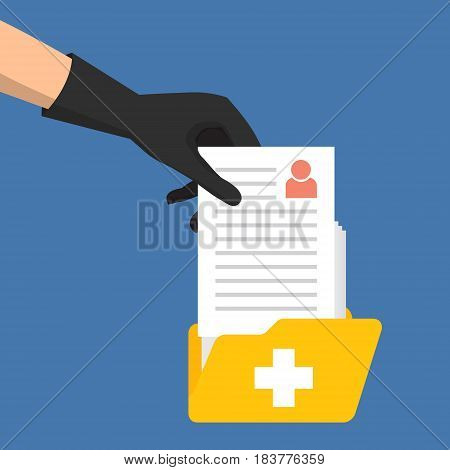 Theft hacker ransom to target medical records from folder. Vector illustration cybercriminals concept.