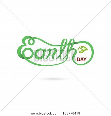 Green Earth Day Typographical Design Elements.Earth Day hand lettering icon.Earth Day logotype symbol.Design for greeting CardPosterFlyerCoverBrochureAbstract background.Vector illustration