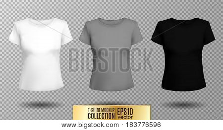 T-shirt template set for men and women, realistic gradient mesh vector eps10 illustration. White, gray and black object on transparent background.