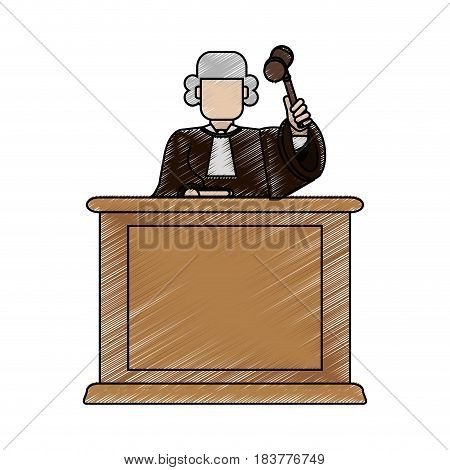 color blurred stripe of faceless judge in law courts with hammer vector illustration