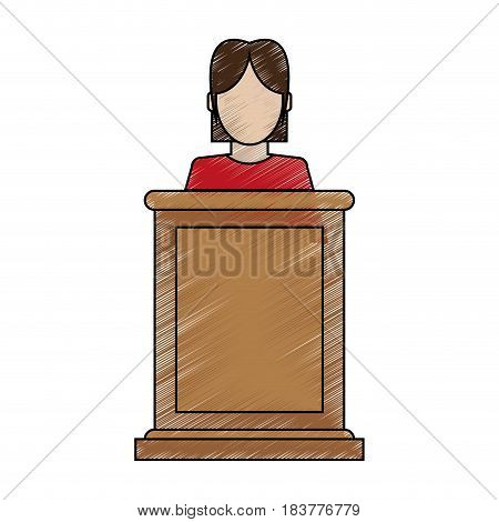 color blurred stripe of faceless person in law courts with microphone vector illustration
