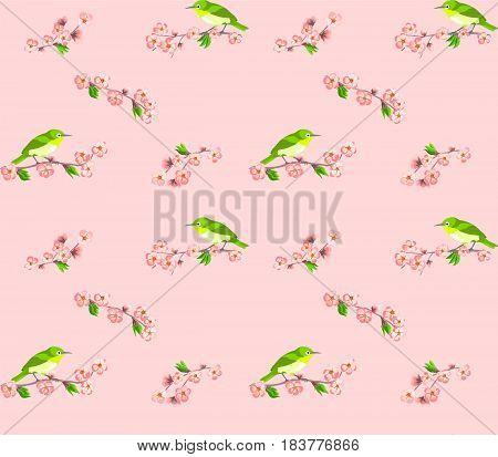 Japanese seamless pattern with sakura flowers and green birds on pink background.