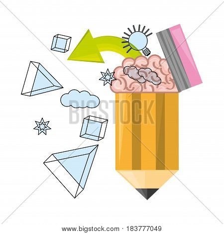 concept brain inside pencil symbolizing the creativity, vector illustration