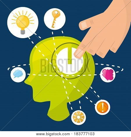 silhouette head inpired in different ideas and knowledge, vector illustration