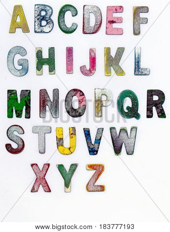 painted scratched color wooden  alphabet